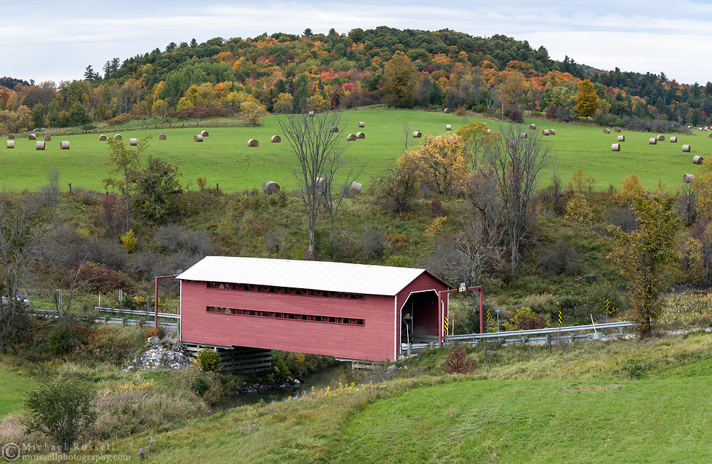 Meech Creek Valley covered bridge in Chelsea, Québec, Canada.  This covered bridge was built in 1932.  Photographed from a field next to Cross Loop Road in Gatineau Park.