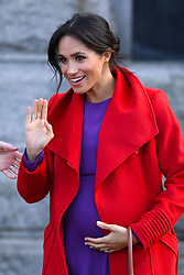 The Duchess of Sussex outside Birkenhead Town Hall, during a visit to Birkenhead. Photo credit should read: Doug Peters/EMPICS
