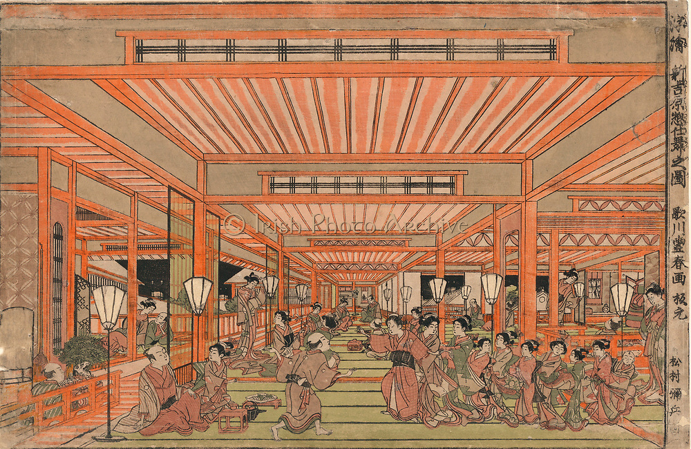 Cleaning out in Shin-Yorshiwara: Edo (Tokyo) red light district, c1775.  Women collecting together in open hall. Some women are still with clients. Utagawa Toyoharu (1735-1814) Japanese Ukiyo-e artist.  Enterainment Prostitution