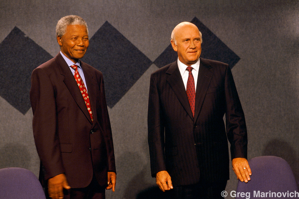 Johannesburg, South Africa 199.: Nelson Mandela and F.W. de Klerk during a debate leading up to the 1994 elections in South Africa.