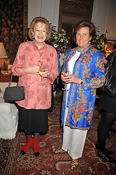 Left to right, LADY ANTONIA FRASER and LADY AMABEL LINDSAY at a party to celebrate the publication of Charles Glass's new book 'Americans in Paris' held at 12 Lansdowne Road, London W1 on 25th March 2009.