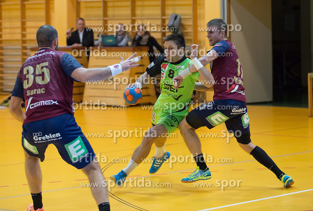 09.12.2014, Sporthalle, Leoben, AUT, OeHB-Cup Achtelfinale, Union JURI Leoben vs SG INSIGNIS Handball West Wien, im Bild Domagoj Surac(Leoben) Augustas Strazdas (West Wien), Benas Patreikis (Leoben) // durning the OeHB-Cup, Round of the last sixteen, between, Union JURI Leoben vs SG INSIGNIS Handball West Wien at the Sport Hall, Leoben, Austria on 2014/12/09, EXPA Pictures © 2014, PhotoCredit: EXPA/ Dominik Angerer