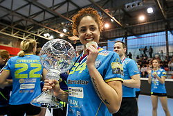 Lamprini Tsakalou of RK Krim Mercator celebrates with medal and trophy after handball match between RK Zagorje and RK Krim Mercator in Final game of Slovenian Women Handball Cup 2017/18, on April 1, 2018 in Park Kodeljevo, Ljubljana, Slovenia. Photo by Matic Klansek Velej / Sportida