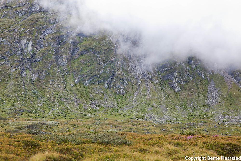 The mountain Fongen, in the fog.