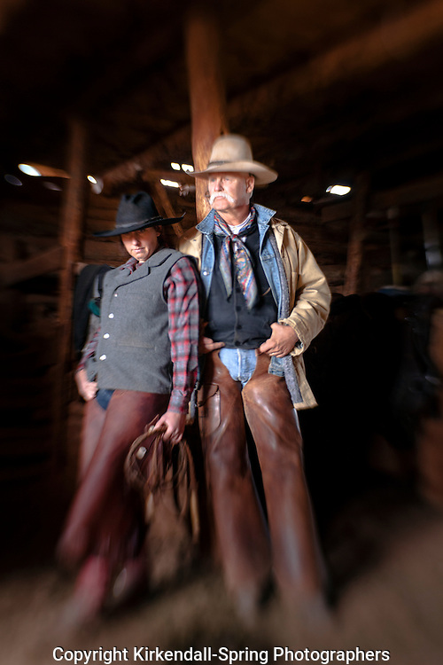 LB00145-00...WYOMING - Mike Buckich and Jaira McKeown in the barn at Willow Creek Ranch. MR3 B18 - M19