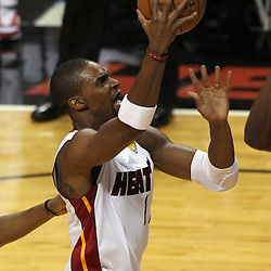 Jun 21, 2012; Miami, FL, USA; Miami Heat power forward Chris Bosh (1) drives to the basket against the Oklahoma City Thunder during the first quarter in game five in the 2012 NBA Finals at the American Airlines Arena. Mandatory Credit: Derick E. Hingle-US PRESSWIRE