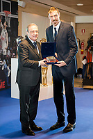 """Andres """"El Chapu"""" Nocioni and Real Madrid's president Florentino Perez during the appearance of retirement as profesional basketball player at Stadium Santiago Bernabeu in Madrid, Spain. April 04, 2017. (ALTERPHOTOS/BorjaB.Hojas)"""