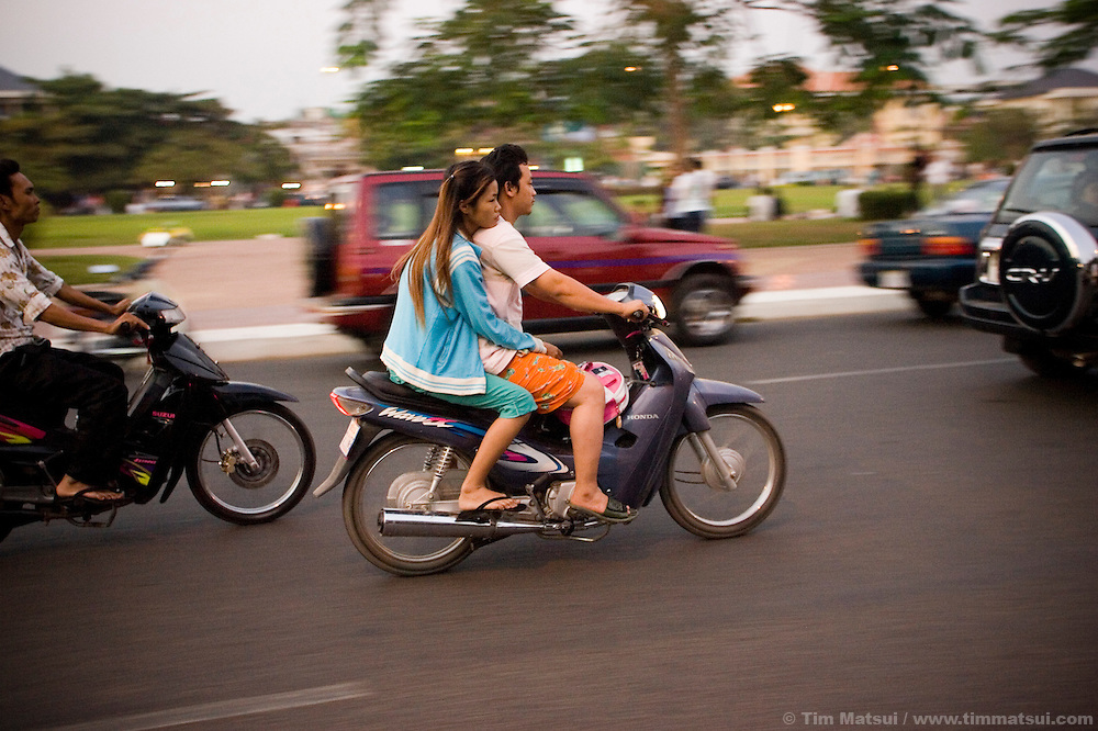 Traveling on the streets of Phnom Penh, Cambodia.