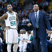 05 April 2013: Boston Celtics shooting guard Terrence Williams (55) is seen next to Boston Celtics head coach Doc Rivers during the Cleveland Cavaliers 97-91victory over the Boston Celtics at the TD Garden, Boston, Massachusetts, USA.