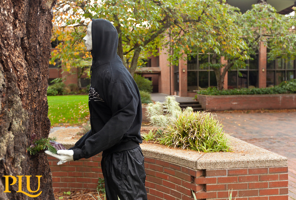3D sculptures created for a Spencer Ebbinga art class made their appearance on campus in time for Halloween at PLU on Wednesday, Oct. 29, 2014. (PLU Photo/John Froschauer)