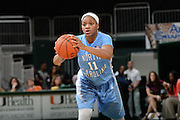 January 3, 2015: Brittany Rountree #11 of North Carolina in action during the NCAA basketball game between the Miami Hurricanes and the North Carolina Tar Heels in Coral Gables, Florida. The Tar Heels defeated the 'Canes 66-65.