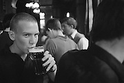 Guy Drinking a Pint, Russell Square, London, UK, 1980s.