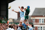 Graham Kitchener of Leicester Tigers (right) competing in the line out during the Aviva Premiership match at Welford Road, Leicester<br /> Picture by Andy Kearns/Focus Images Ltd 0781 864 4264<br /> 06/09/2014