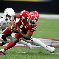 Aug 31, 2019; New Orleans, LA, USA; Mississippi State Bulldogs defensive tackle James Jackson (99) pressures Louisiana-Lafayette Ragin Cajuns quarterback Levi Lewis (1) during the second half at the Mercedes-Benz Stadium. Mandatory Credit: Derick E. Hingle-USA TODAY Sports