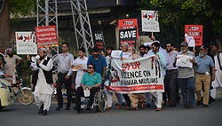 September 9, 2017 - Lahore, Punjab, Pakistan - Members of Pakistani civil society from defferent walk protest against the persecution of Myanmar's Rohingya Muslim minority, in Lahore. The U.N. refugee agency said some 123,000 Rohingya refugees have fled to Bangladesh since violence erupted in Myanmar on Aug. 25, and that established refugee camps were now at ''breaking point. (Credit Image: © Rana Sajid Hussain/Pacific Press via ZUMA Wire)