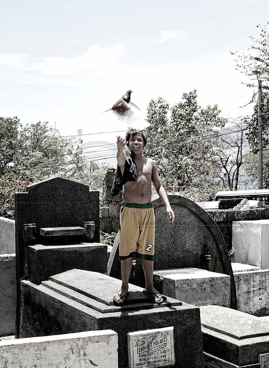 A young boy , resident in  Olongapo Cemetery plays with his loose pigeon from the top of a tomb.