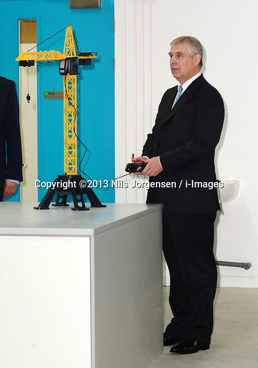 The Duke of York &amp; Boris Johnson College Opening.<br /> The Duke of York during the opening of the Royal Greenwich University Technical College. The new regional academy will develop the skills of 14-19 year olds in engineering and construction, alongside their core academic education, London, United Kingdom. Thursday, 24th October 2013. Picture by Nils Jorgensen / i-Images