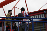 General view of the exterior of the stadium showing Atletico Madrid fans walking to the stadium pictured ahead of the UEFA Champions League Final at Estádio da Luz, Lisbon<br /> Picture by Ian Wadkins/Focus Images Ltd +44 7877 568959<br /> 24/05/2014