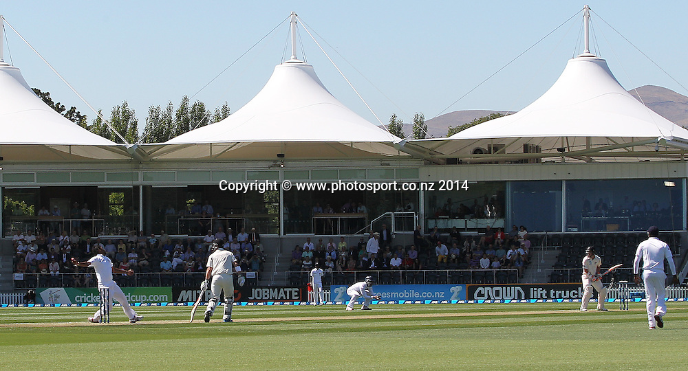 Suranga Lakmal of Sri Lanka falls while bowling the first ball of the test to Tom Latham of the Black Caps on Day 1 of the boxing Day Cricket Test Match  the Black Caps v Sri Lanka at Hagley Oval, Christchurch. 26 December 2014 Photo: Joseph Johnson / www.photosport.co.nz