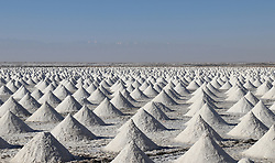 November 1, 2018 - Zhangye, China - Workers at the Gaotai Salt Lake in Zhangye, northwest China's Gansu Province. The Gaotai Salt Lake, located in Gaotai County, is the oldest salt lake in Gansu Province. (Credit Image: © SIPA Asia via ZUMA Wire)