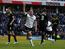 Derby County's Jake Buxton celebrates his goal -Photo mandatory by-line: Matt Bunn/JMP - Tel: Mobile: 07966 386802 09/11/2013 - SPORT - FOOTBALL - Pride Park - Derby - Derby County v Sheffield Wednesday - Sky Bet Championship
