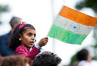 BRASSCHAAT (ANTWERP - Belgium) -  Indian supporters during the Fintro Hockey World League Semi-Final match between the men of India and France (3-2) COPYRIGHT WORLDSPORTPICS KOEN SUYK