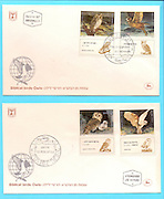 Biblical birds - owls First day cover of an Israeli stamps 1987