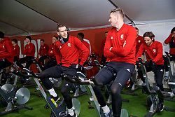 CARDIFF, WALES - Monday, November 19, 2018: Wales' Gareth Bale (L) and goalkeeper Wayne Hennessey during a training session at the Vale Resort ahead of the International Friendly match between Albania and Wales. (Pic by David Rawcliffe/Propaganda)