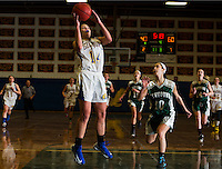 Maddie Harris of Gilford goes up for the basket during NHIAA Division III basketball with Newfound on Tuesday evening.  (Karen Bobotas/for the Laconia Daily Sun)