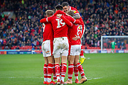 Goal Barnsley Celebrates as Barnsley midfielder Cameron McGeehan (8) scores a goal 2-0 during the EFL Sky Bet League 1 match between Barnsley and Scunthorpe United at Oakwell, Barnsley, England on 2 February 2019.