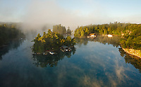Beautiful Autumn MorningAerial Vista From Ivy Lea Bridge, Thousand Islands Region, Gananoque, Ontario, Canada