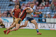 Darnell McIntosh of Huddersfield Giants is tackled by Lewis Tierney of Catalans Dragons during the Ladbrokes Challenge Cup match at the John Smiths Stadium, Huddersfield<br /> Picture by Richard Land/Focus Images Ltd +44 7713 507003<br /> 31/05/2018