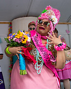 Amber Nelson celebrates being crowned Baltimore's Best Hon 2018, during Honfest on Sunday, June 10, 2018 in Baltimore, MD.