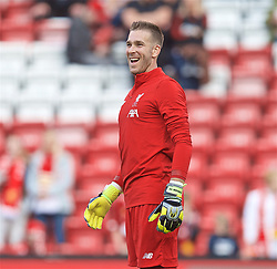 LIVERPOOL, ENGLAND - Friday, August 9, 2019: Liverpool's goalkeeper Adrián San Miguel del Castillo during the pre-match warm-up before the opening FA Premier League match of the season between Liverpool FC and Norwich City FC at Anfield. (Pic by David Rawcliffe/Propaganda)