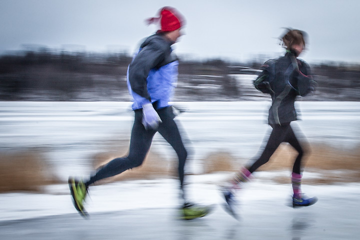 Runners brave the ice near Westchester Lagoon, Anchorage