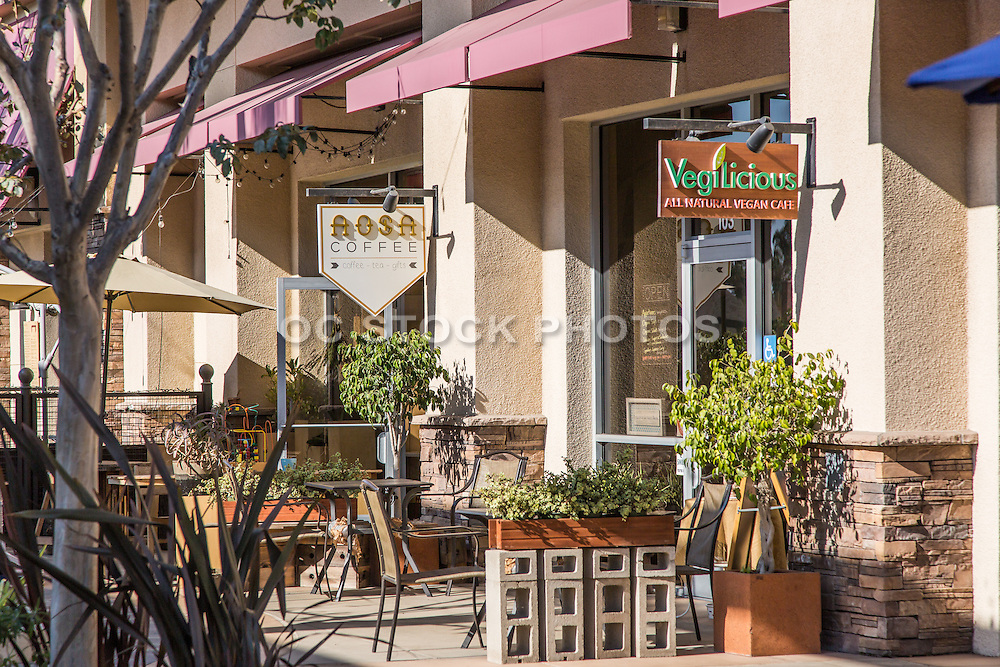Outdoor Dining at Huntington Harbour Mall in Huntington Beach California