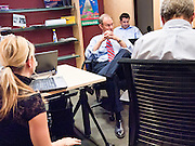 "28 OCTOBER 2010 - PHOENIX, AZ: Terry Goddard and his campaign staff at the last ""Tweetup"" of the campaign. Goddard took questions and provided answers to Twitter users in real time.  Goddard lost the election to sitting Governor Jan Brewer, a conservative Republican.     PHOTO BY JACK KURTZ"
