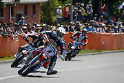 Richard Dibben from Wanganui leads Casey Bullock and Duncan Hart in the Supermoto race at the Cemetery Circuit Road Races, Wanganui, Boxing Day which was the 3rd and final round of the 2014 Suzuki Series