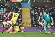 Burton Albion midfielder Lloyd Dyer (11) passes through to Burton Albion striker Lucas Akins (10) during the EFL Sky Bet Championship match between Aston Villa and Burton Albion at Villa Park, Birmingham, England on 3 February 2018. Picture by Richard Holmes.