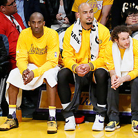 19 February 2016: Los Angeles Lakers forward Kobe Bryant (24) is seen on the bench next to Los Angeles Lakers center Robert Sacre (50) during the San Antonio Spurs 119-113 victory over the Los Angeles Lakers, at the Staples Center, Los Angeles, California, USA.