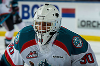 KELOWNA, CANADA - MARCH 13: Roman Basran #30 of the Kelowna Rockets warms up against the Spokane Chiefs on March 13, 2019 at Prospera Place in Kelowna, British Columbia, Canada.  (Photo by Marissa Baecker/Shoot the Breeze)