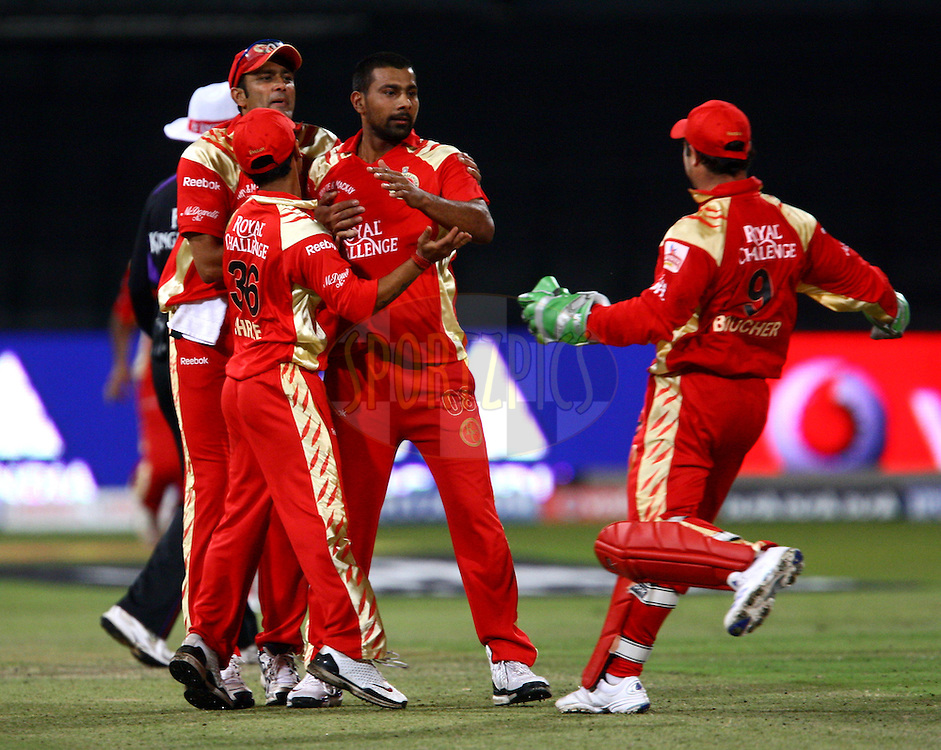 DURBAN, SOUTH AFRICA - 1 May 2009.Boucher rushes in to congratulate Praveen on a vital wicket during the IPL Season 2 match between Kings X1 Punjab and the Royal Challengers Bangalore held at Sahara Stadium Kingsmead, Durban, South Africa..