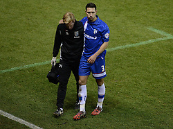 Gillingham's Joe Martin comes off with an injury. - Photo mandatory by-line: Alex James/JMP - Mobile: 07966 386802 - 29/01/2015 - SPORT - Football - Bristol - Ashton Gate - Bristol City v Gillingham - Johnstone Paint Trophy Southern area final