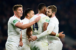 Joe Cokanasiga of England celebrates scoring a try with team mates - Mandatory by-line: Dougie Allward/JMP - 24/11/2018 - RUGBY - Twickenham Stadium - London, England - England v Australia - Quilter Internationals