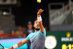May 8, 2018 - Madrid, Spain - Damir Džumhur of Bosnia Herzegovina serve to Juan Martin del Potro of Argentina in the 2nd Round match during day four of the Mutua Madrid Open tennis tournament at the Caja Magica. (Credit Image: © Manu Reino/SOPA Images via ZUMA Wire)