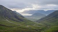 Viewing north towards Dýrafjörður fiord from top of Hrafnseyrarheiði mountain pass in Westfiords of Iceland.