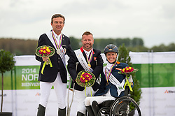 Podium Individual Test Grade Ib 1. Lee Pearson and Zion, 2. Pepo Puch and Fine Feelings S, 3. Nicole den Dulk and Wallace - Individual Test Grade Ib Para Dressage - Alltech FEI World Equestrian Games™ 2014 - Normandy, France.<br /> © Hippo Foto Team - Jon Stroud <br /> 25/06/14