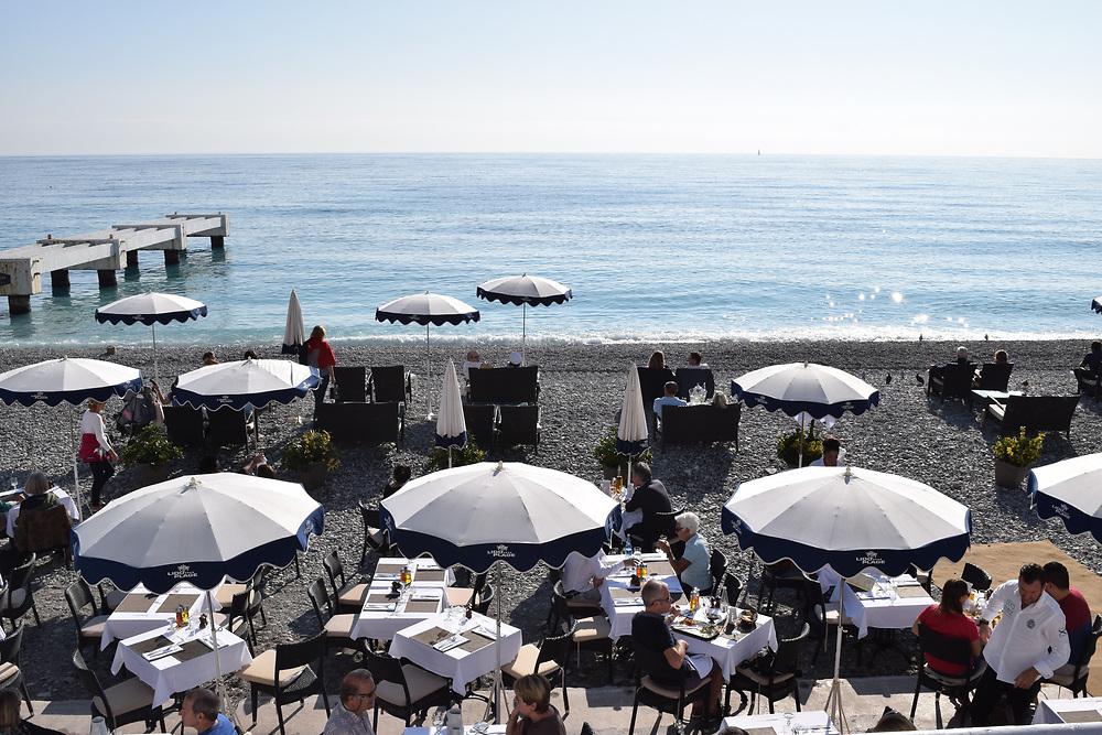 Restaurant at Nice beach, France