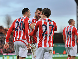 Stoke's Bojan Krkic celebrates his goal with Stoke's Phillip Bardsley - Photo mandatory by-line: Dougie Allward/JMP - Mobile: 07966 386802 - 06/12/2014 - SPORT - Football - Stoke - Britannia Stadium - Stoke City v Arsenal - Barclays Premie League