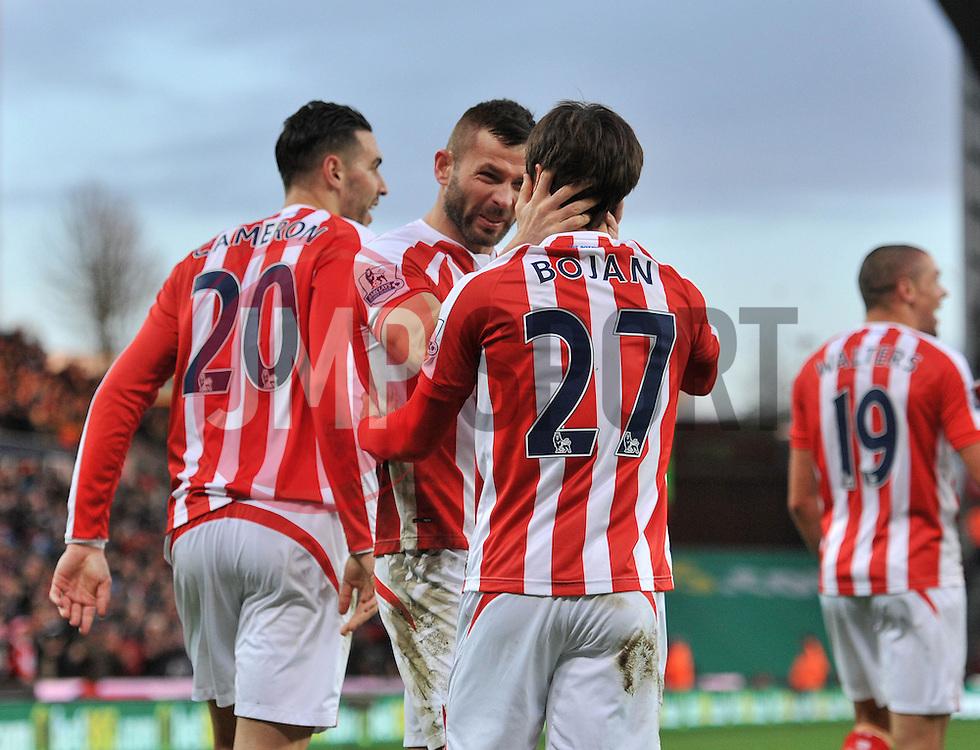 Stoke's Bojan Krkic celebrates his goal with Stoke's Phillip Bardsley - Photo mandatory by-line: Dougie Allward/JMP - Mobile: 07966 386802 - 06/12/2014 - SPORT - Football - Stoke - Britannia Stadium - Stoke City v Arsenal - Barclays Premie League